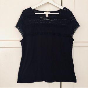 H&M Black Lace Top XL